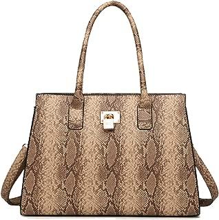 Yan Show Women's PU Elegant Handbag Fashion Shoulder Bag Snake Skin Texture Totes Travel Bag