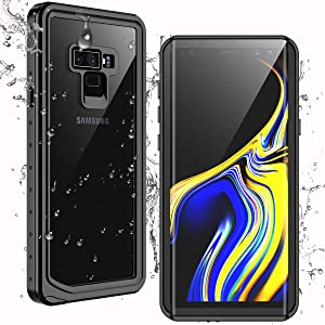 Temdan Samsung Galaxy Note 9 Case, IP68 Waterproof Dustproof Shockproof Case with Built-in Screen Protector, Full Body Sealed Underwater Protective Cover for Samsung Galaxy Note 9 (Black)