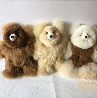 IncaGift Authentic Baby Alpaca Fur Teddy Bear- Handmade Alpaca Fur Stuffed Bear -Made in Peru Size (10 in)