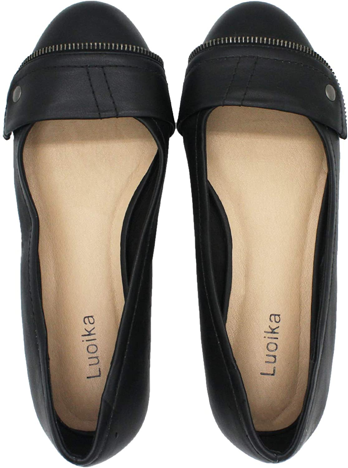 Luoika Women's Wide Width Flat shoes - Comfortable Slip On Round Toe Faux Leather Ballet Flats.