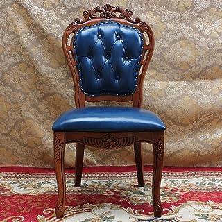 Sillas de comedor Americana silla de cuero comedor comedor de piel azul heces Silla de comedor, cuero simple unidad de la silla 2 Piezas Cocina Comedor Muebles ( Color : Blue , Size : 50x52x106cm )
