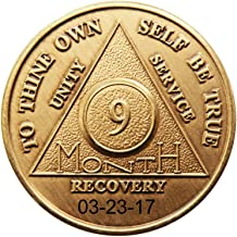 HPRS Personalized Custom Engraved Select 9 Month Antique Bronze AA (Alcoholics Anonymous)-Sober-Sobriety-Birthday-Medallion-Chip-Token (9 Month)