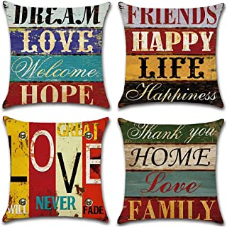 comprar comparacion Gspirit Funda Cojines Mediterráneo Amor Vendimia Tema 4 Pack Algodón Lino Decorativo Throw Pillow Case Funda Almohada 45x45cm