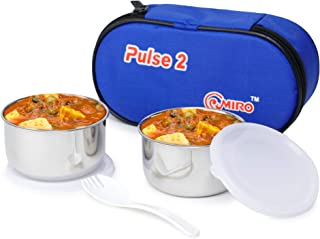 Omiro Executive Lunch Box Pulse 2 for Office, Stainless Steel, 2 Container Set, Blue