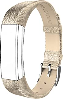 SWEES Genuine Leather Bands Compatible with Alta & Alta HR, Genuine Leather Band with Buckle Replacement Wristband Small & Large Women Men, Silver, Gold, Black, Brown, Pink, Grey