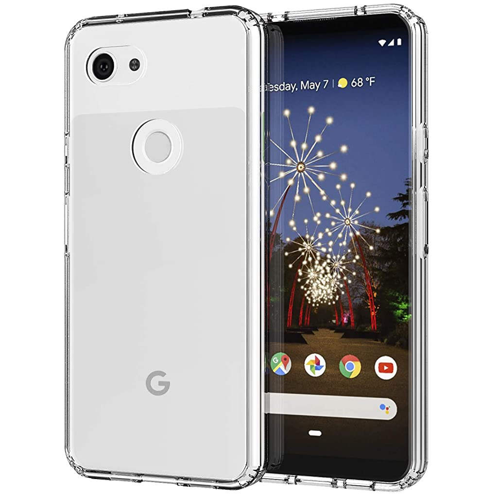 MoKo Compatible with Google Pixel 3a XL Case, Slim Anti-Scratch Hard PC Backplate + TPU Bumper Shock Absorption Anti-Yellow Cellphone Cover Shell Fit with Google Pixel 3a XL - Crystal Clear