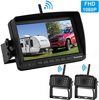Emmako FHD 1080P Digital Wireless 2 Backup Camera with 7'' DVR Monitor Support Split/Quard Screen for Trailers,Trucks,RVs,High-Speed Observation System Adjustable Rear/Front View, Guide Lines On/Off