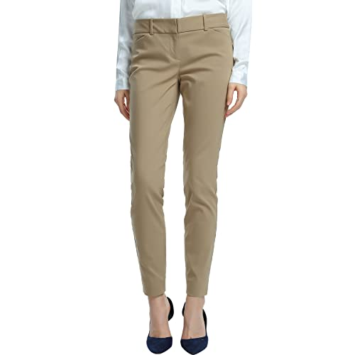 137c549146e SATINATO Women s Straight Pants Stretch Slim Skinny Solid Trousers Casual  Business Office