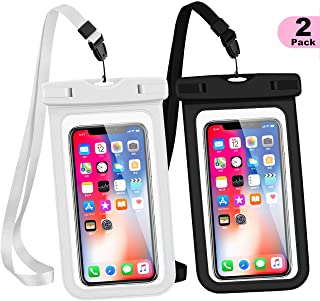 WJZXTEK Waterproof Case Universal Waterproof Phone Pouch Certified IPX8 Underwater Cellphone Case Dry Bag for iPhone X 8 8Plus 7 7Plus 6S Samsung Galaxy S9 S8 S7 HTC10 Google Sony Nokia (2 Pack)