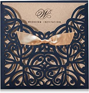 Wishmade Navy Blue Square Laser Cut Wedding Invitations Cards with Bowknot Lace Sleeve Cards Printable Kraft Paper for Engagement Birthday (pack of 50pcs)
