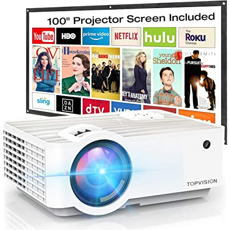"""Video Projector, TOPVISION 6500L Portable Mini Projector with 100"""" Projector Screen, 1080P Supported, Built in HI-FI Speakers, Compatible with Fire Stick, HDMI, VGA, USB, TF, AV, PS4"""