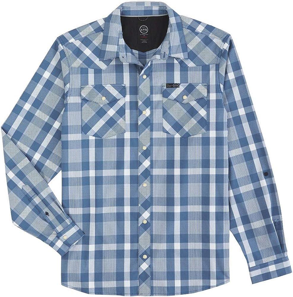 Wrangler Mens ATG Blue Plaid Vented Shirt