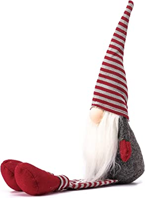 Funoasis Swedish Handmade Plush Gnomes Christmas Gnome Home Holiday Decor Ornaments Adorable Lucky Valentine Easter Thanks Giving Day Xmas Gift Stuffed Gnomes (Long Leg Red -22 inches)