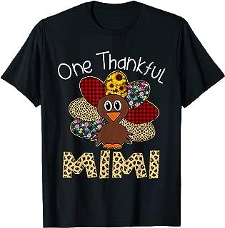 Turkey One Thankful Mimi Grandma Thanksgiving Fall Gift T-Shirt