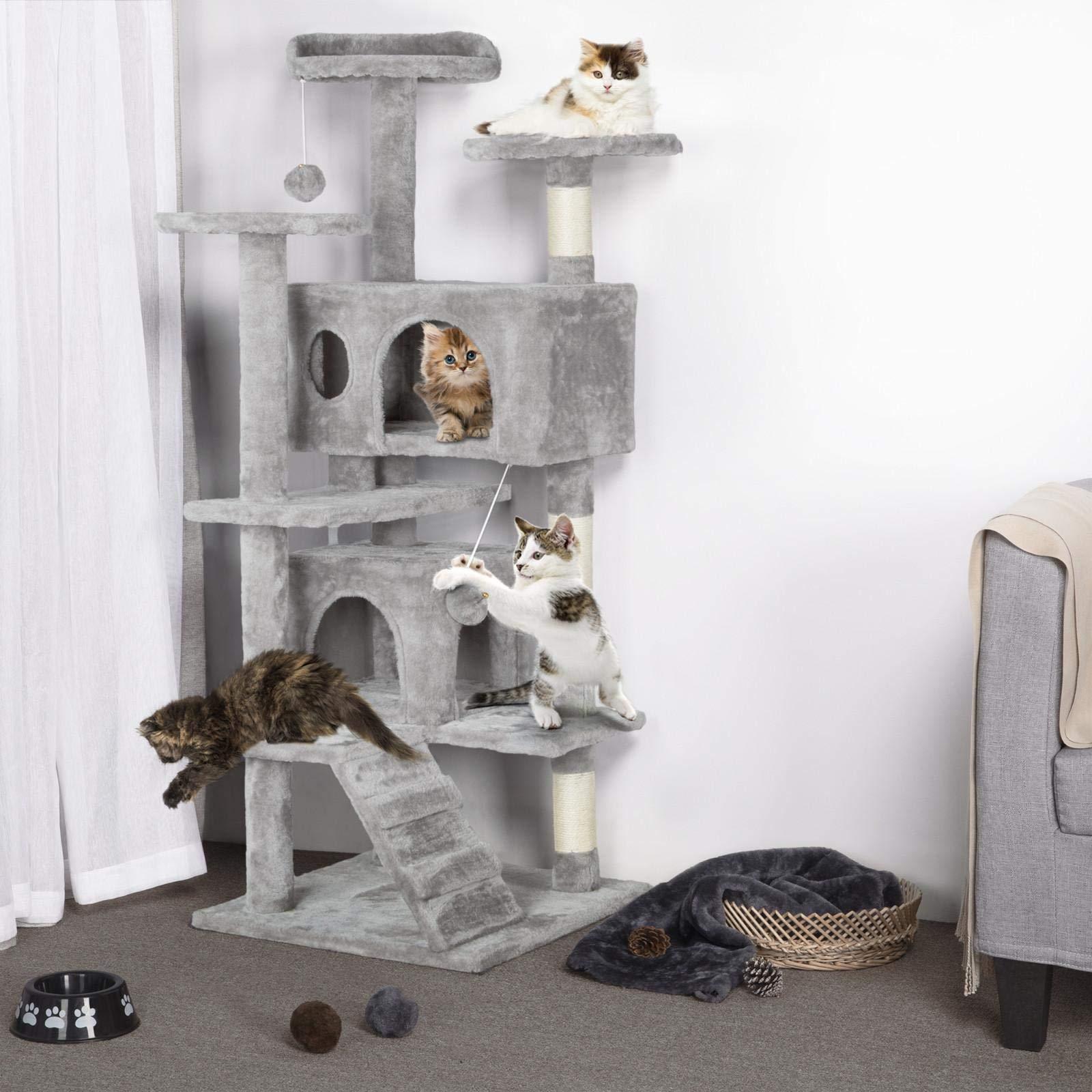 Yaheetech Árbol para Gatos con Escalera Múltiples Plataformas Rascadores Arañazos con Felpa Suave Gris Claro: Amazon.es: Productos para mascotas