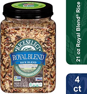 RiceSelect Royal Blend, Texmati White, Brown, Wild, & Red Rice, 21 Ounce (4 Count) jars