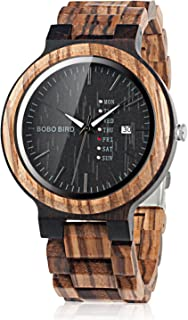 BOBO BIRD Week and Date Multi-Functional Display Men`s Zebra Wooden Quartz Watch Lightweight Handmade Casual Wristwatches with Gift Box