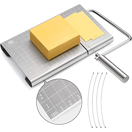 Cheese Slicer, Stainless Steel Cheese Cutter with Accurate Size Scale, Wire Cheese Slicer for Cheese Butter, Equipped with 4 Replaceable Cheese Slicer Wires
