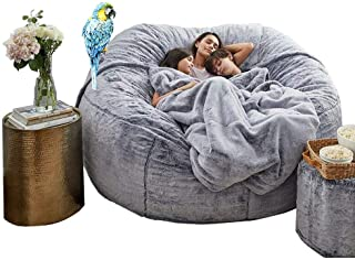 Giant Fur Bean Bag Cover Soft Fluffy Portable Living Room Sofa Bed Cushion Cover