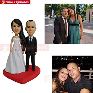 wedding cake topper traditional make Custom bobblehead artist mini me head statue by Turui Figurines custom wedding bobblehead