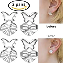 Womens Earring Lifters, Fangsi 2018 2 Pares de Magic Earring Backs Ajustable Hipoalergénico Earring Lifters Mariposa en forma de diseño de cobre Set