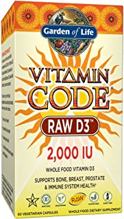 Garden of Life D3 - Vitamin Code Whole Food Raw D3 Vitamin Supplement, 2000 IU, Dairy and Gluten Free, Vegetarian, 60 Count Capsules | D3 with Organic Green Cracked Wall Chlorella Plus Probiotics