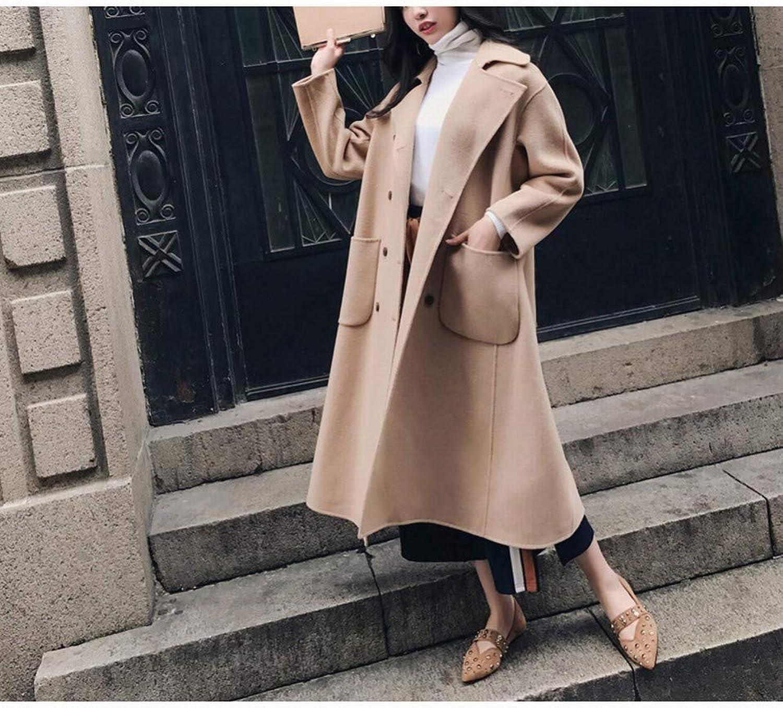 Woolen Coat, Female Coat Student Sen College Wind Coat Jacket, Retro Art Long Long Knee Over Short Winter Coat PLLP