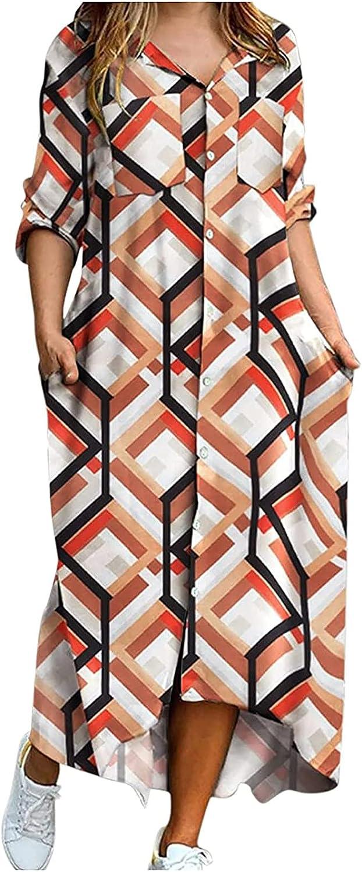 Sun Dresses Women Summer Casual O-Neck Color Matching Button Pocket Long-Sleeved Shirt Long Dress Sexy Boho