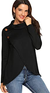 Women's Long Sleeve Cowl Neck Asymmetric Hem Wrap Pullover Sweater