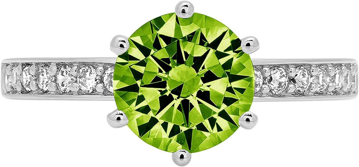 1.96ct Brilliant Round Cut Solitaire Genuine Flawless Natural Green Peridot Gemstone Engagement Promise Anniversary Bridal Wedding Accent Ring Solid 18K White Gold