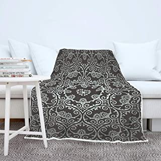 B3DHV-9 Blanket Black Mandala Patterned Prints Microfiber Oversize Robe - Stripes Leisure Wear Fits Sofa Chair Use White 60x80 inch