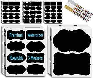 8 Xtra Large & 200 Large Chalkboard Labels - Silver Gold & White Chalk Pens - Chalk Board Mason Jar Labels - Removable Wat...