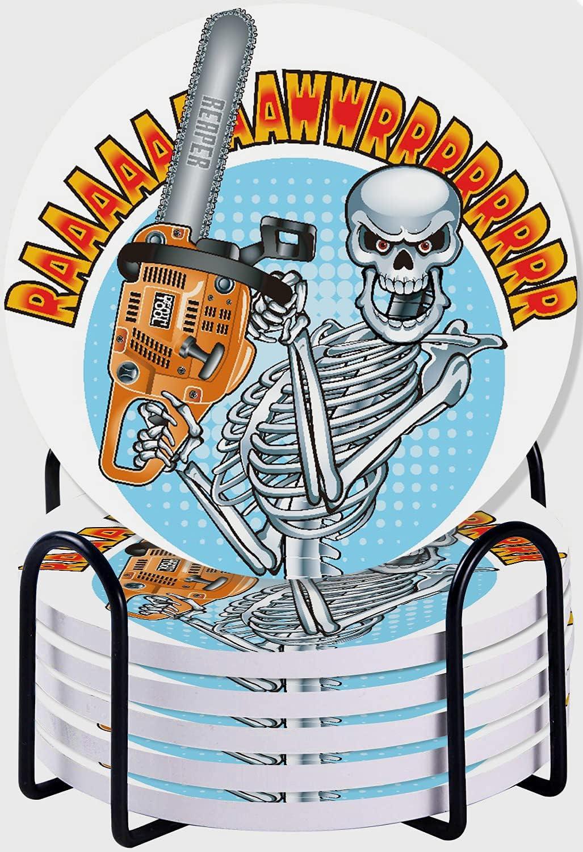 CIKYOWAY Posavasos para Bebidas,Esqueleto Humano Sonriente sosteniendo una Motosierra Juego de 6 Posavasos absorbentes con Soporte de Metal/Fondo de Corcho,para Casa Restaurante Y Bar
