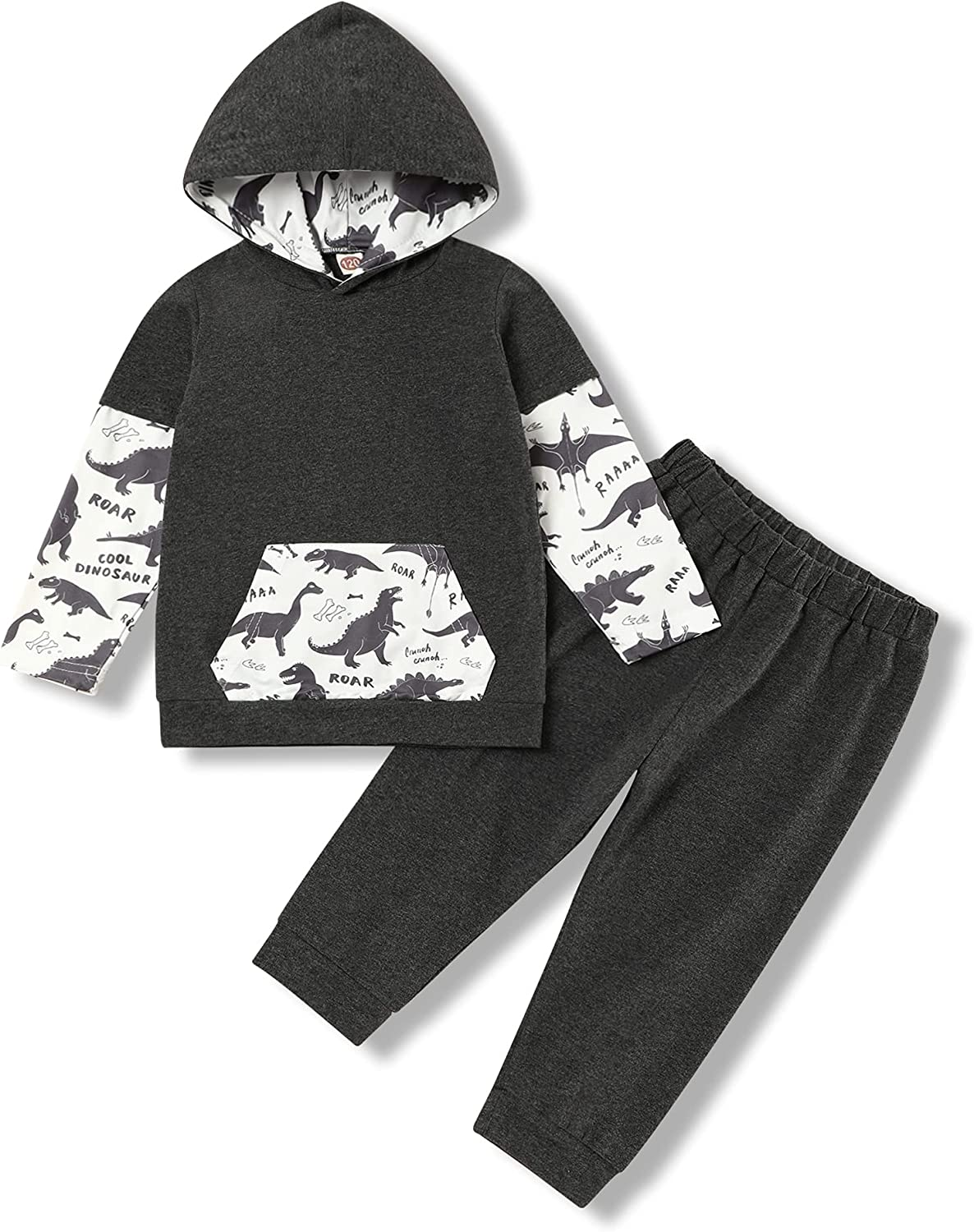 Toddler Baby Boy Long Sleeve Outfits Dinosaur Hoodie Fall Winter Stripe Clothing Set