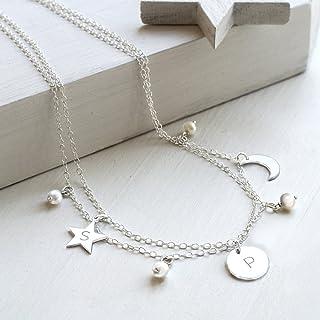 Collar celestial personalizado de plata de ley y perlas de agua dulce