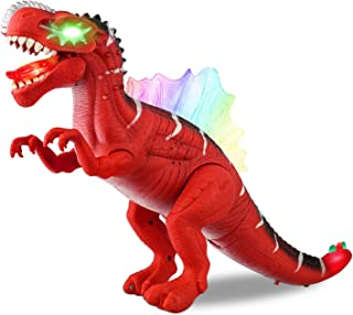 Baccow Kids Dinosaur Toys for 3 Year Olds, Led Light Up Sound Walking Realistic No Faded and Smell Big Lighted Toy Dinosaurs for 5 Year Old Boys and Girls