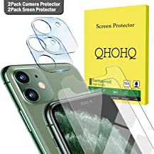 "[4 Pack] QHOHQ 2 Pack Tempered Glass Screen Protector +2 Pack Tempered Glass Camera Lens Protector for Apple iPhone 11 (6.1""),[9H Hardness] HD Transparent Scratch-Resistant [Bubble Free]"