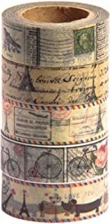 Antique Vintage Washi Tape Set (Japanese Masking Tape) by MIKOKA, 0.6 Inches Wide, 32.8 Feet Long, 5 Rolls - Antique Bright
