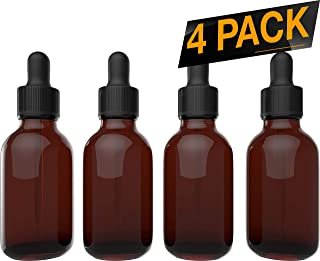 Essential Oil Bottles - Round Boston Empty Refillable Amber Bottle with Glass Dropper for Liquid Aromatherapy Fragrance Lot - (2 oz) 60ml … (4 Pack)