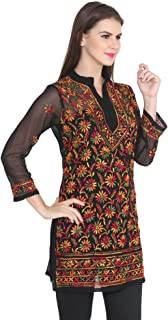 nAzAqAt Lakhnawi Chikankari Georgette Kurta Kurti with fine multicolor Hand Embroidery all over on front