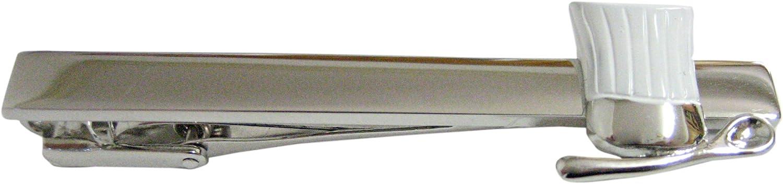 White Culinary Chef Hat and Spoon Square Tie Clip