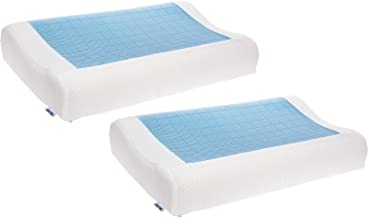 Mindful Design 2 Pack Cooling Contoured Memory Foam Pillow - Dual Sided Cooling Gel Pillow with Removable Cover