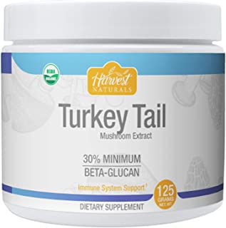 Turkey Tail Mushroom Extract Powder - Certified Organic & 30% Min. Beta-Glucan - 125 Grams - Harvest Naturals
