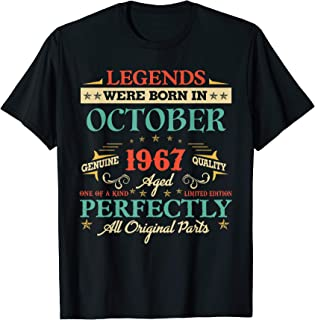Legends Were Born In October 1967 52nd Birthday Gifts T-Shirt