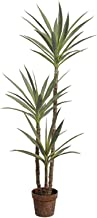 SilkTreeWarehouseCompanyInc One 59 inch Tall Outdoor Artificial Yucca Palm Tree Potted UV Rated Plant