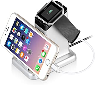 Fitbit Blaze Charger, MixMart 2 in 1 Charging Stand Station for Fitbit Blaze and Universal Smart Phones and Tablets (Silver)