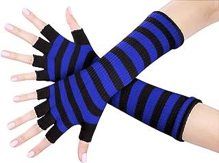 Best blue striped fingerless gloves Reviews
