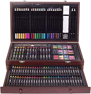 ZagGit 143 Piece Deluxe Art Supplies Set in Portable Wooden Case   Crayons, Oil Pastels, Colored Pencils, Watercolor Cakes, Sharpener, Sandpaper & Much More!