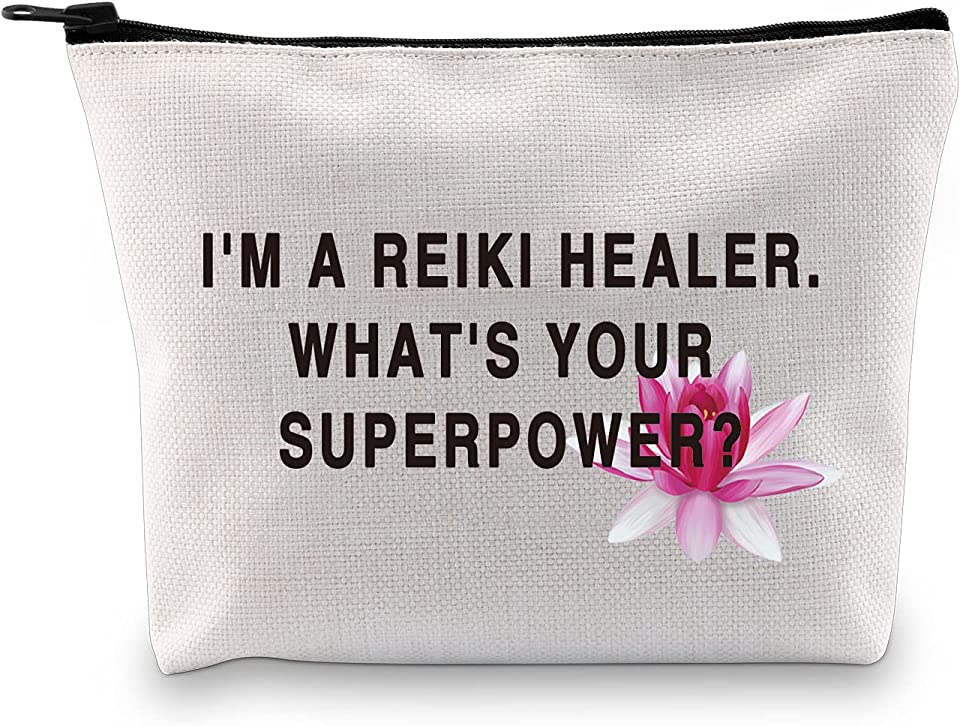 Reiki Healer Thank You Gift I'M A Reiki Healer What's Your Superpower Cosmetic Bag and Travel Make Up Pouch (Reiki Healer White Bag)