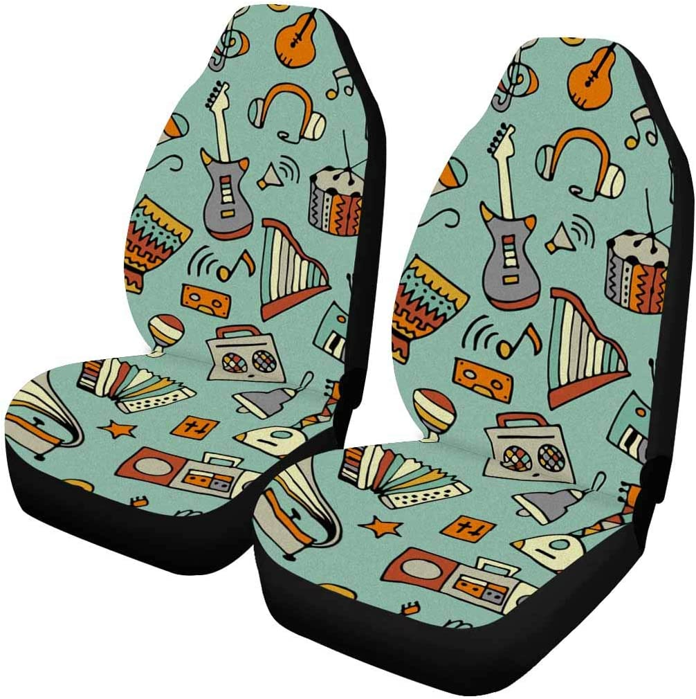 INTERESTPRINT Popular products service Car to on Musical Instruments 2 p Covers Seat Auto